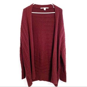 Cable Knit Long Red Cardigan
